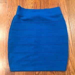 Blue Mini Ribbed Skirt